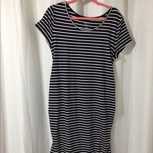Navy blue striped maternity dress